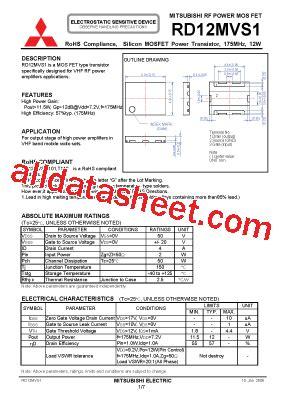 transistor mosfet rd70hvf1 rd12mvs1 datasheet pdf mitsubishi electric semiconductor
