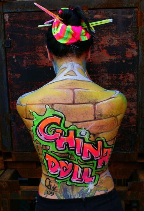 soy 4 china dolls china doll uv paint grafitti by bodypaintingbycatdot on