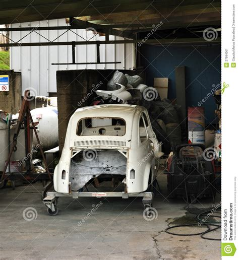 Free 2 Car Garage Plans Garage Old Car Under Restoration Editorial Photo Image
