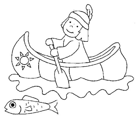 Indian Canoe Coloring Page | free coloring pages of indian canoe