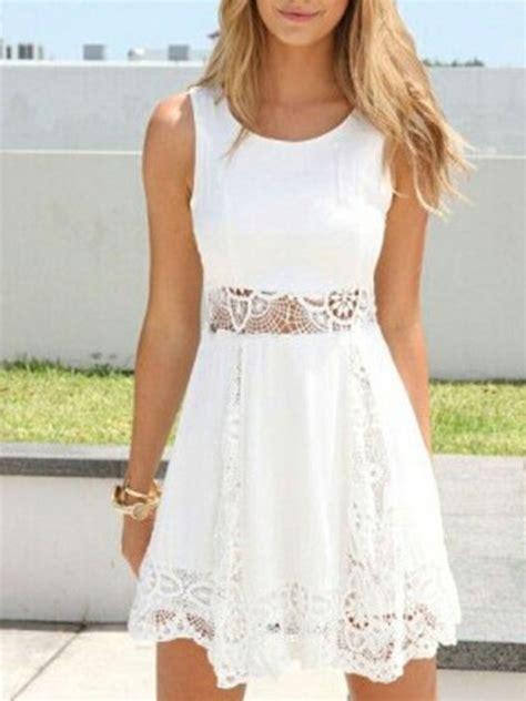 vestido de encaje corto vestido corto blanco encaje hueco en cintura tidebuy