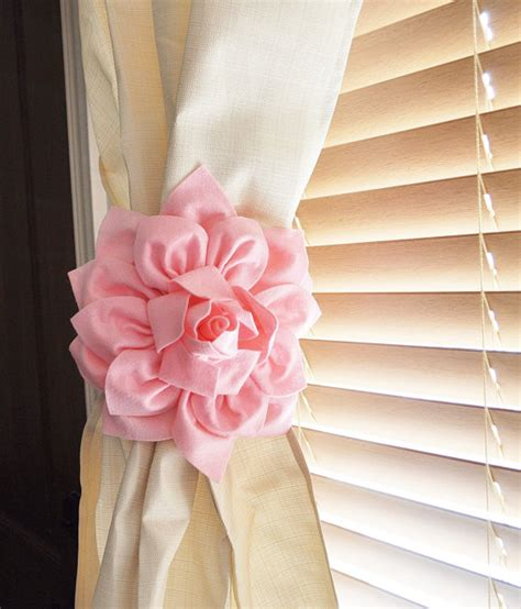 Nursery Decor Two Dahlia Flower Curtain Tie Backs Curtain Curtain Tie Backs For Nursery