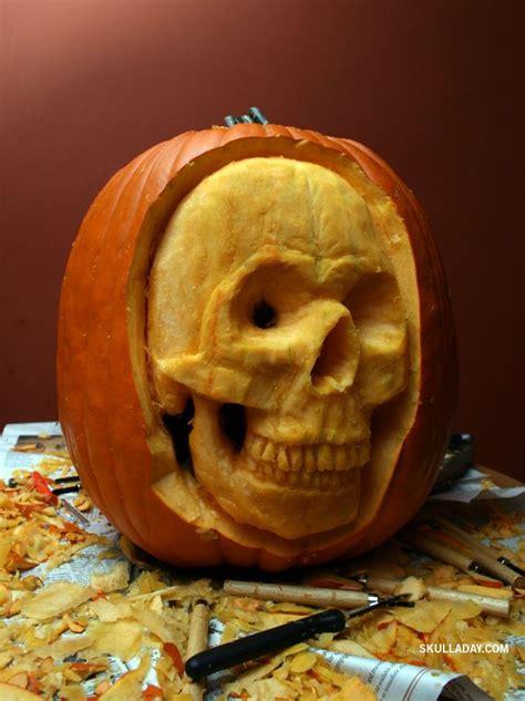skull pumpkin carving diy craftiness pinterest