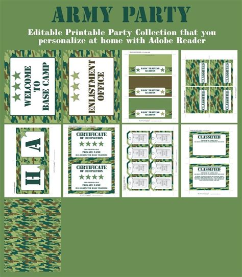 free printable army party decorations army party printables invitations decorations camo