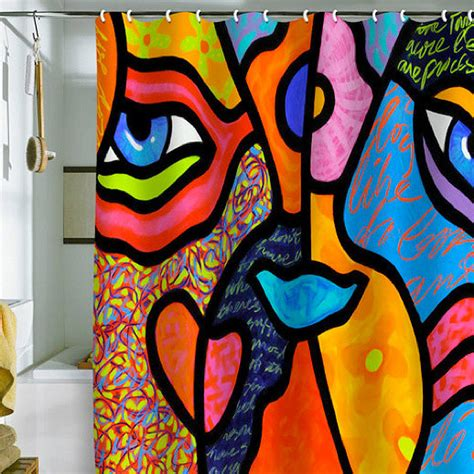 trippy window curtains quot eye to eye quot shower curtain modern shower curtains