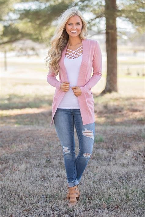 love cardigan dusty rose  pink lily chic
