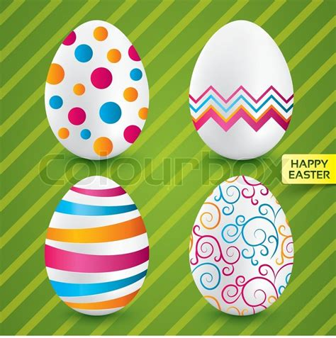 colorful eggs happy easter white eggs with colorful patterns stock