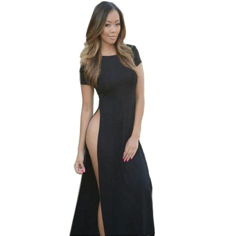 dress with black sides new womens high quality cotton maxi casual side