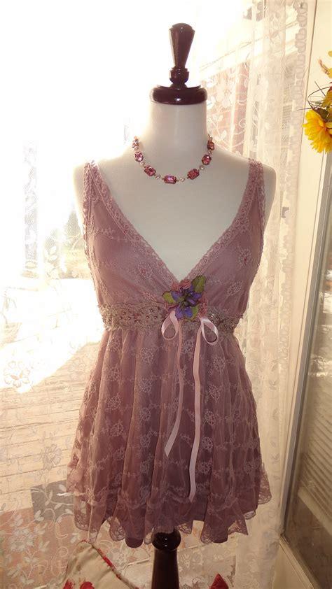 Gypsy Lace Top Boho Chic Mini Dress Romantic Shabby Chic Shabby Chic Attire