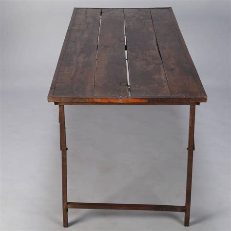 large industrial wood and iron folding table at 1stdibs