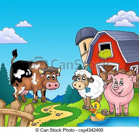 grange des animaux animaux ferme grange animaux illustration ferme