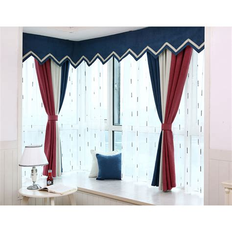 short bay window curtains colorful striped print polyester and linen short bay