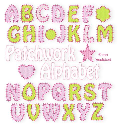 Patchwork Letters - der stickbaer patchwork alphabet embroidery from