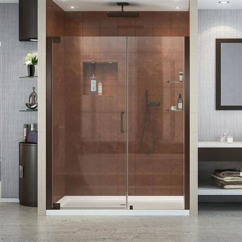 Shop Dreamline Elegance 52 75 In To 54 75 In Frameless Oil 52 Inch Shower Door