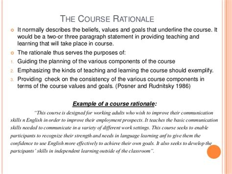 design rationale definition course planning and syllabus design