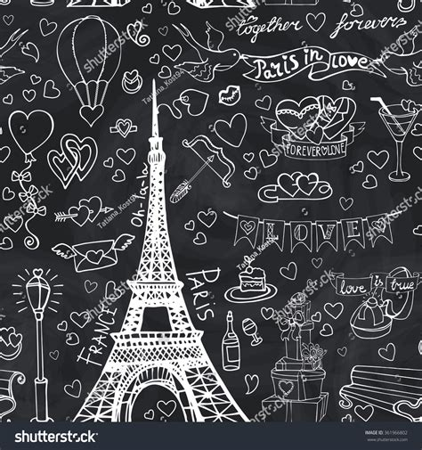pattern french word paris lovevalentines daywedding seamles patternhearts