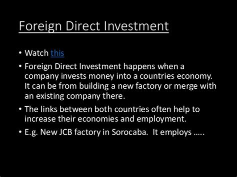 Foreign Direct Investment Mba Notes by L3 Ap Political And Economic Acceleration Of Globalisation