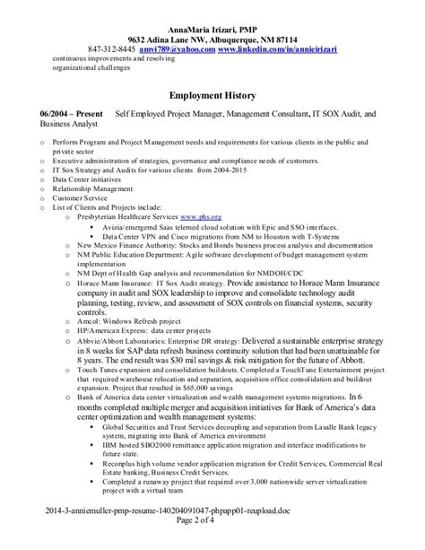 Pmp Resume by Irizari Pmp Resume 2015