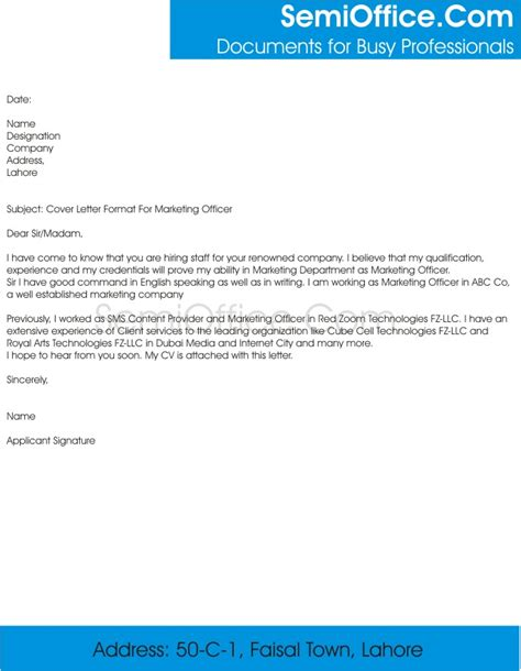 Cover Letter Marketing Position by Cover Letter For Marketing Officer