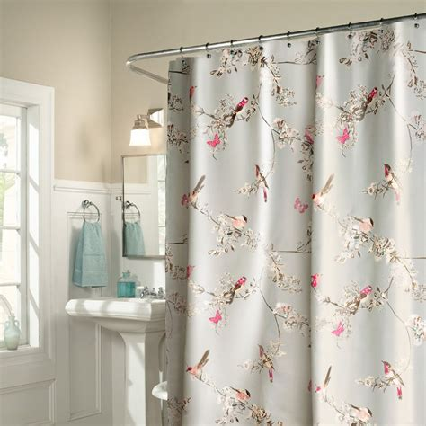 Bird Shower Curtains Light Grey Bird Polyester Waterproof Shower Curtains
