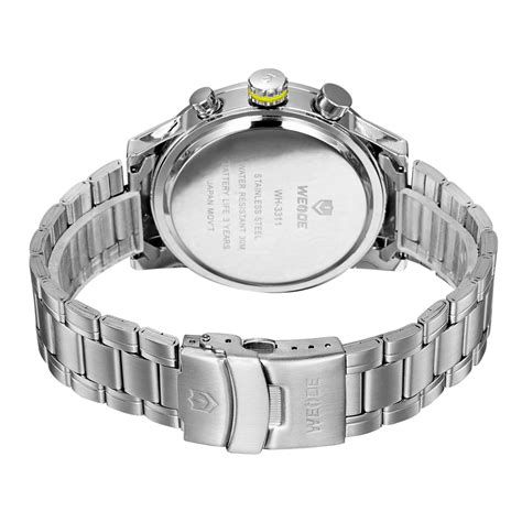 Weide Jam Tangan Sports 30m Water Resistance Wh5203 White weide japan quartz stainless sports 30m water resistance wh3311 yellow