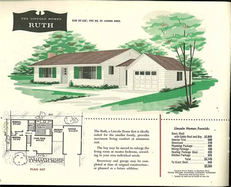 1950s house floor plans factory built houses 28 pages of lincoln homes from 1955