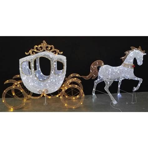 lighted horse and carriage outdoor home accents holiday 58 in led warm white carriage and 43