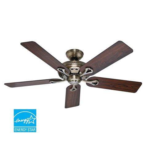Ceiling Fan Power Rating Hunter 53105 Antique Brass 52 Quot Energy Star Rated Indoor