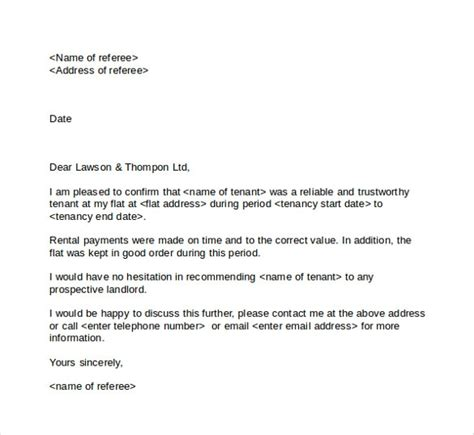 Rental Reference Letter Pdf tenant reference letter letter template