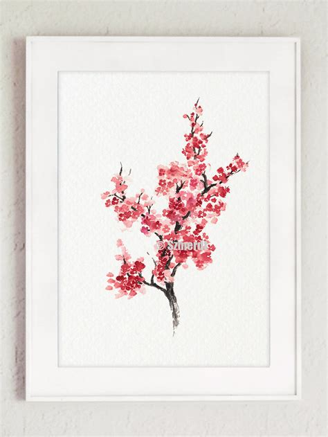 cherry blossom tree home decor minimalist painting