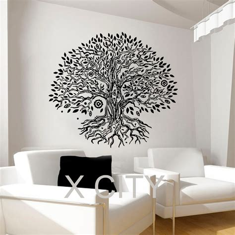 home studio wall design pipal bo tree wall decals namaste vinyl sticker yoga