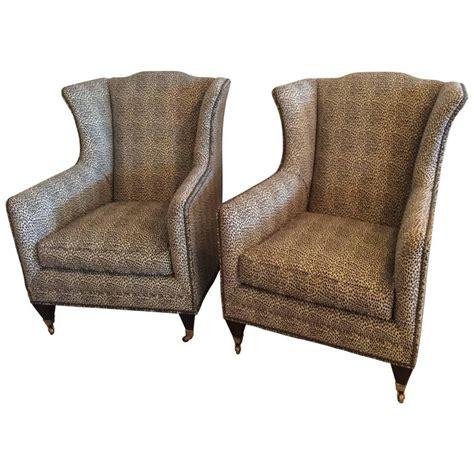 animal print armchair pair wingback animal print chairs nailhead club lounge