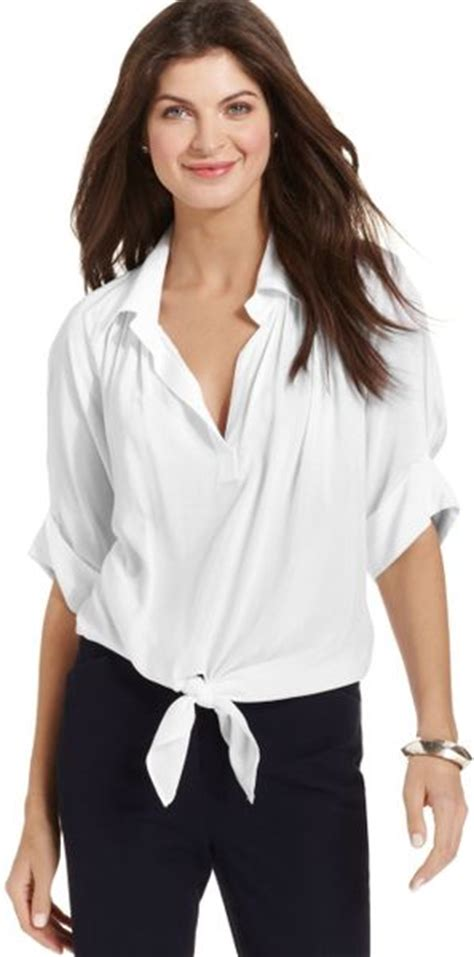 White Tie Front Blouse by Tie Front Blouse White Collar Blouses