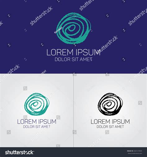 doodle logo design nature symbol logo design template spiral stock vector