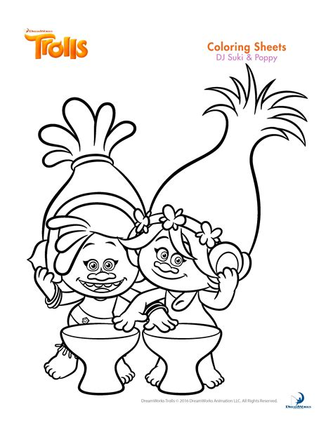 coloring pages of trolls trolls coloring sheets and printable activity sheets and a