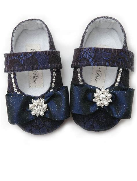 navy baby shoes baby shoe flower shoes christening slipper