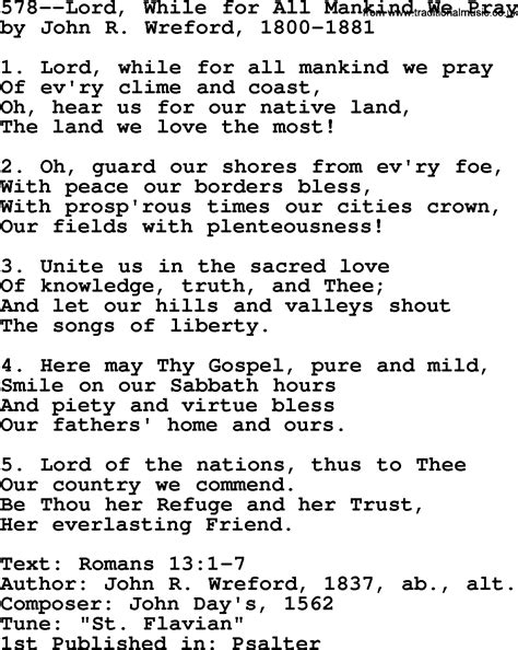 lyrics by mankind lutheran hymns song 578 lord while for all mankind we