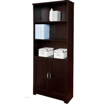 realspace magellan collection 5 shelf bookcase with doors