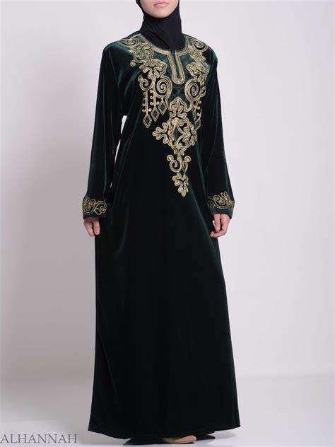 Jilbab Velvet Sequin Syria Berkualitas pinecone looped embroidered syrian velvet thobe