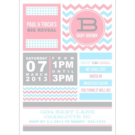 Gender Reveal Card Template by Baby Shower Gender Reveal Invitations Theruntime