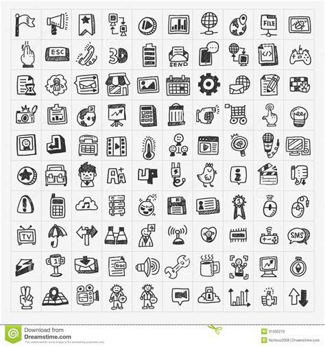 doodle free website 100 doodle web icons set stock vector image of e draw