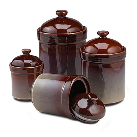 Brown Kitchen Canister Sets by Brown Canisters Set Of 4 Bed Bath Beyond