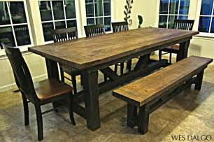 country kitchen table with bench modern barnwood harvest table with bench wes dalgo