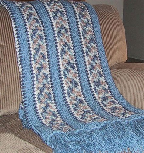 housewarming pattern beautiful afghan crocheted blues tans multicolor