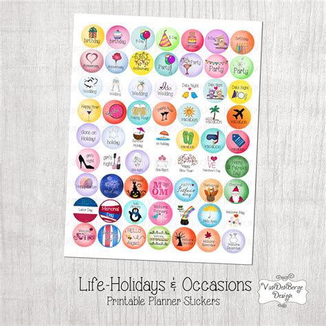printable stickers etsy printable planner calendar stickers life holidays occasions