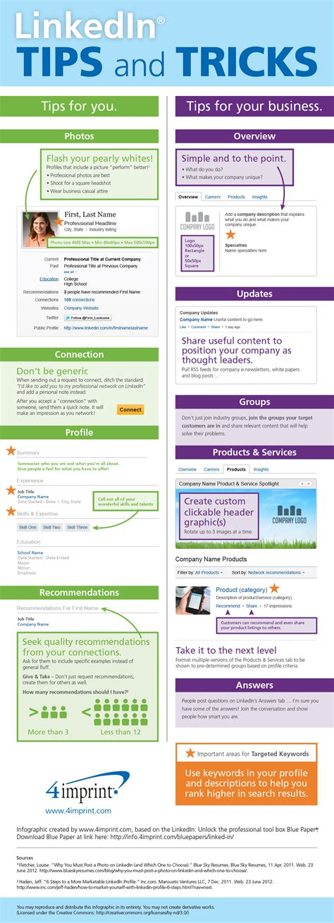 linkedin tips and tricks infographic
