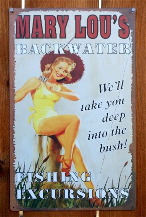 mary lous backwater fishing excursions tin metal sign pin