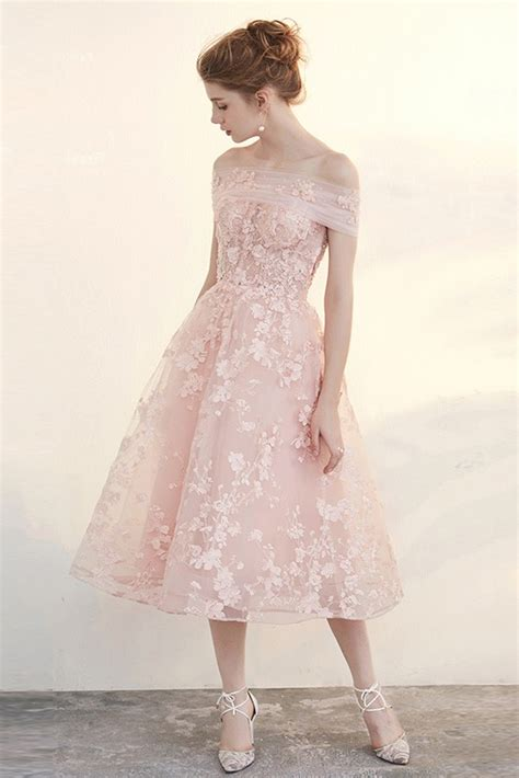 blush tea length wedding dresses   shoulder