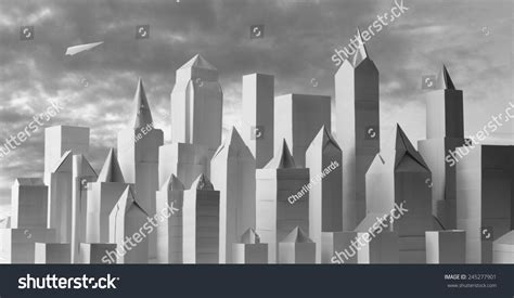 City Origami - origami city 1 origami paper cityscape stock photo