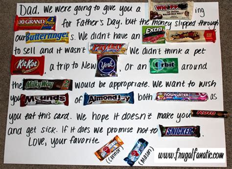 this is a poster card i made for my boyfriend for fathers day card how to make candy poster frugal fanatic